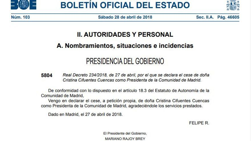Captura del cese de Cristina Cifuentes como presidenta de la Comunidad de Madrid en el BOE