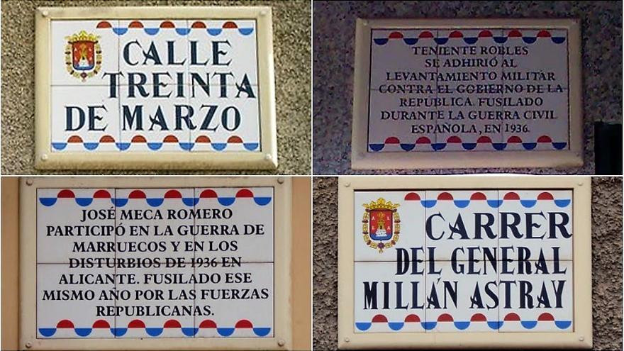 Algunos ejemplos de nombres de calles con nombres franquistas en la ciudad de Alicante