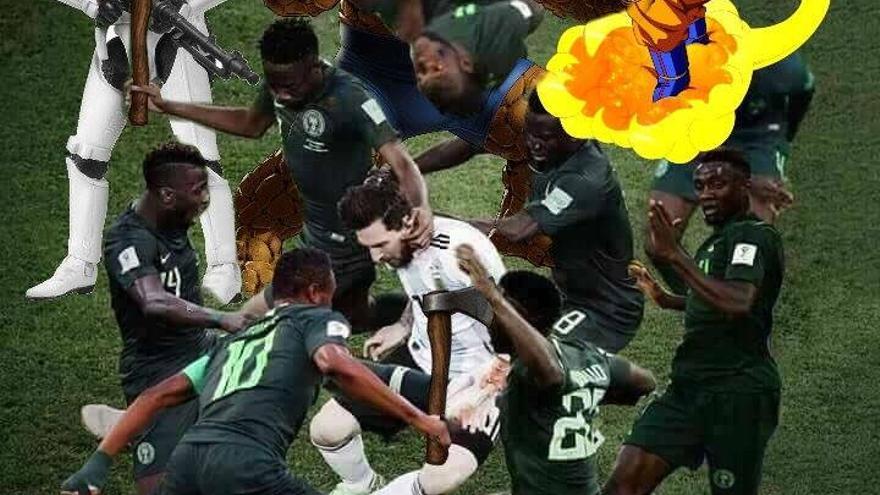Meme de Messi rodeado (2)
