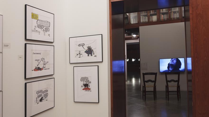 Obra de Forges en la exposición 'Otras Tauromaquias' de Calcografía Nacional. Madrid Capital Animal 2016