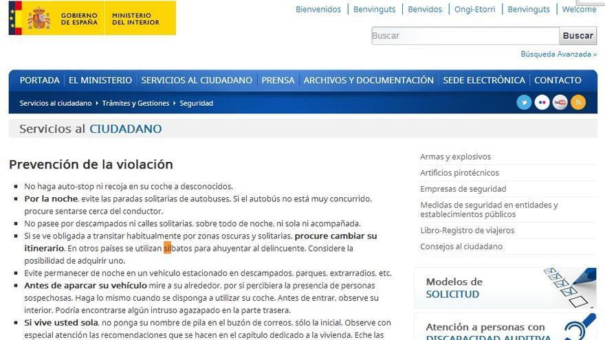 Web del MInisterio del Interior sobre violaciones
