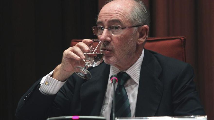 El expresidente de Bankia Rodrigo Rato, durante su comparecencia en el Parlament de Cataluña. / Efe