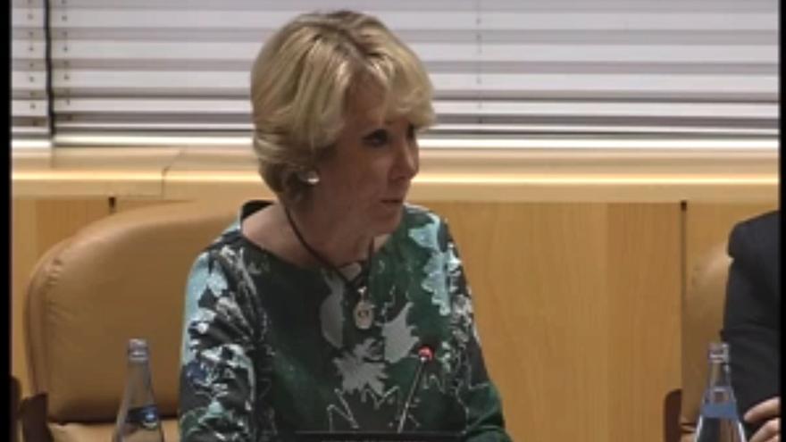 Aguirre en la comisión de la Asamblea de Madrid