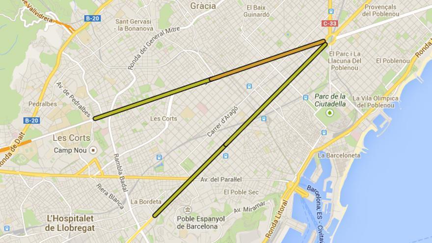Trazado sobre el plano de Barcelona de la 'V' gigante prevista para esta Diada, en Google Maps