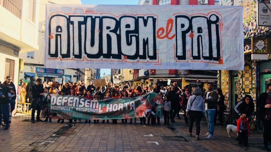 Cabecera de la manifestación contra el PAI en Benimaclet.