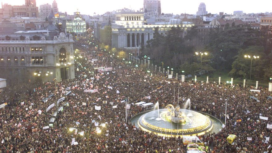 Tens of thousands of demonstrators crowd Madrid's central Cibeles Square and Alcala Street Saturday, Feb 15, 2003 in a large anti-war demonstration to protest against possible military action against Iraq. The Cibeles fountain can be seen lower right.