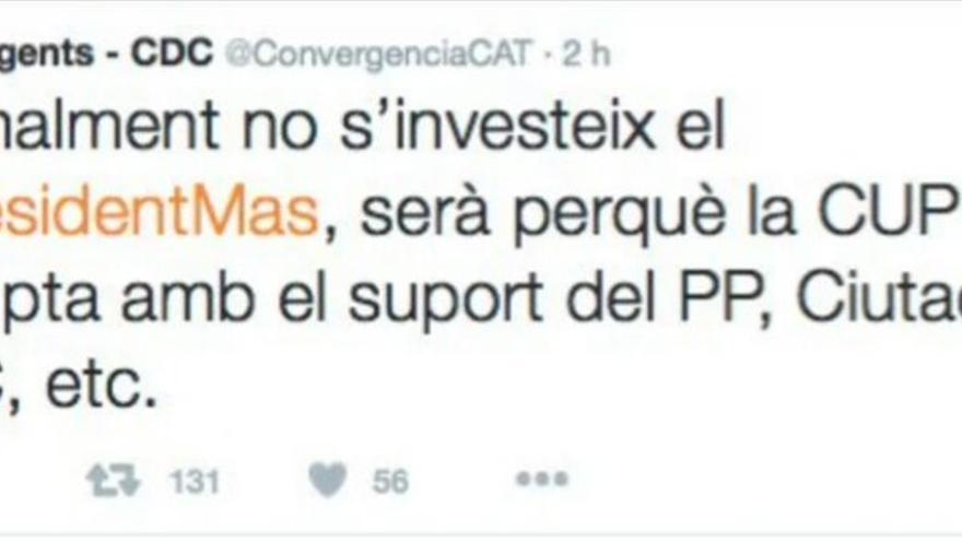 El tuit borrado por Convergència que cargaba contra la CUP