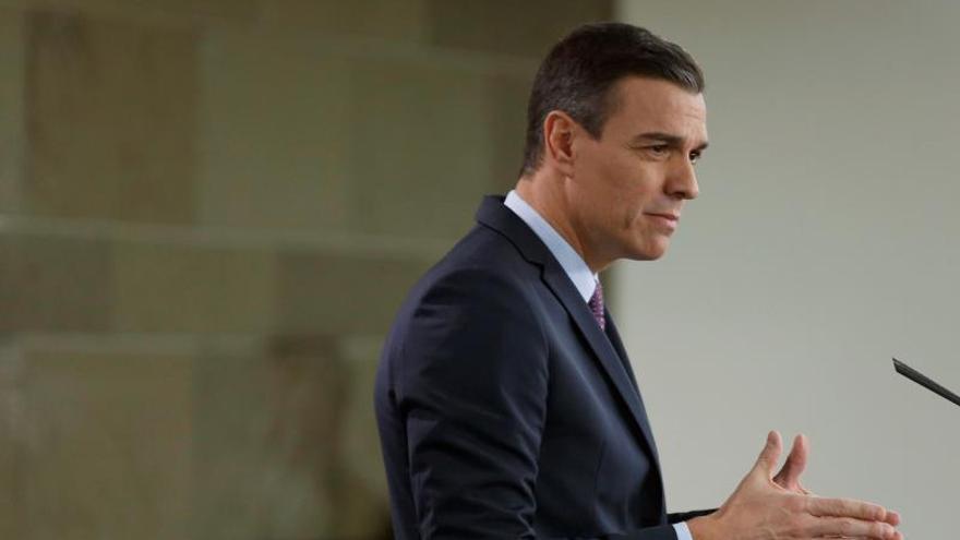 El presidente del Gobierno, Pedro Sánchez, en su comparecencia en el Palacio de la Moncloa.