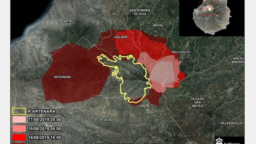 Zona afectada por el incendio de Gran Canaria.