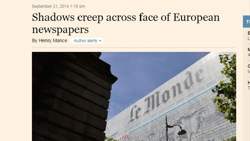 Una imagen de la información que publica el Financial Times sobre cambio de modelo de la prensa del papel.