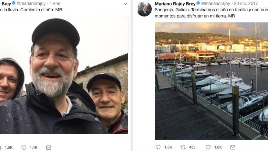 Publicaciones de Mariano Rajoy en su cuenta de Twitter durante su descanso de Navidad en Sanxenxo (Pontevedra)