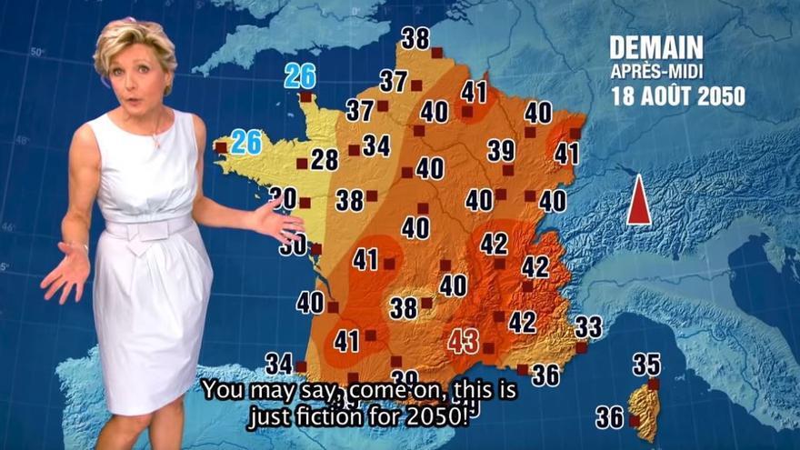 Mapa del tiempo previsto por TF1 en 2014 para el verano de 2050 (Fuente WMO)