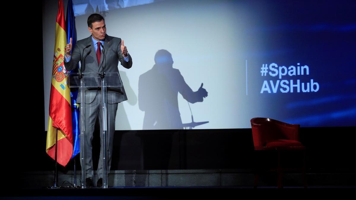 El presidente del Gobierno, Pedro Sánchez, durante la presentación delPlan.