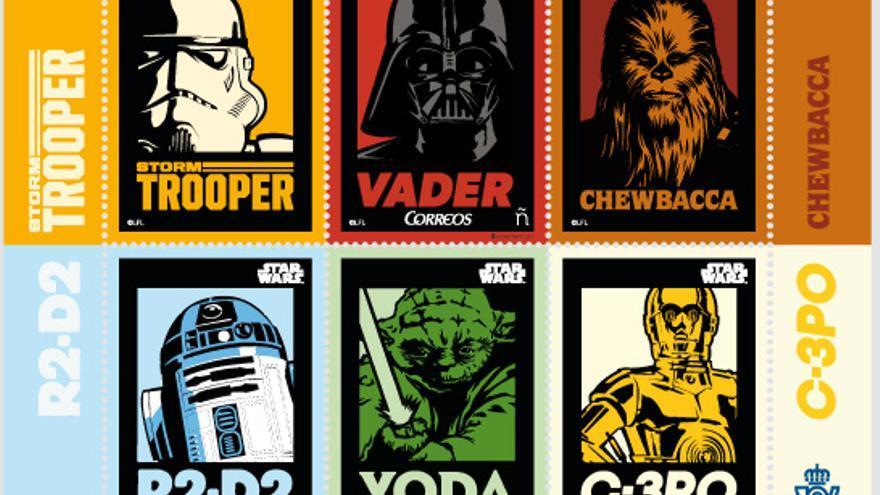 Emisión de sellos de Correos con imágenes de 'La guerra de las galaxias'.
