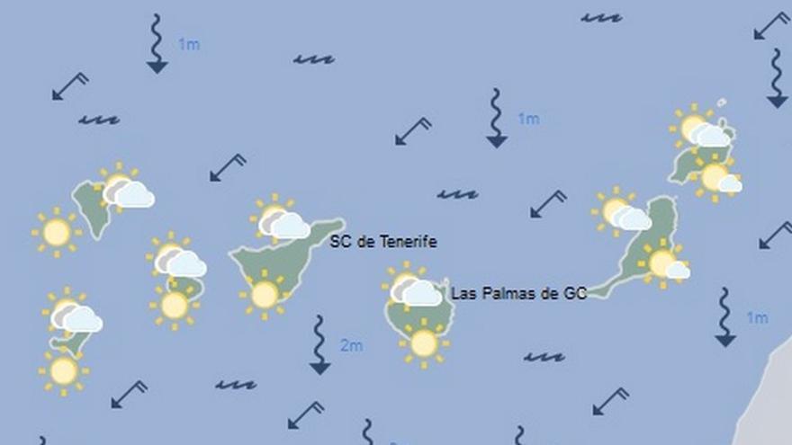 Mapa de la previsión meteorológica de la Aemet para Canarias, 1 de agosto