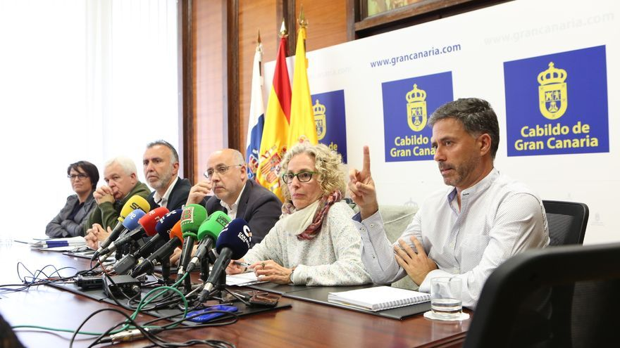De derecha a izquierda: los consejero de Podemos Miguel Ángel Rodríguez y María Nebot; el presidente insular Antonio Morales, el vicepresidente Ángel Víctor Torres, el portavoz de NC en el Cabildo, Carmelo Ramírez, y la consejera Elena Máñez.
