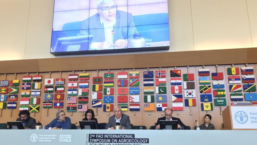 El alcalde de València, Joan Ribó, durante su intervención ante la FAO