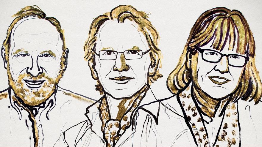 Premiados con el Nobel de Física 2018, Arthur Ashkin, Gérard Mourou y Donna Strickland (izquierda a derecha)