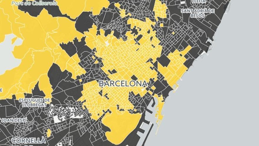 Mapa manzana a manzana en Barcelona