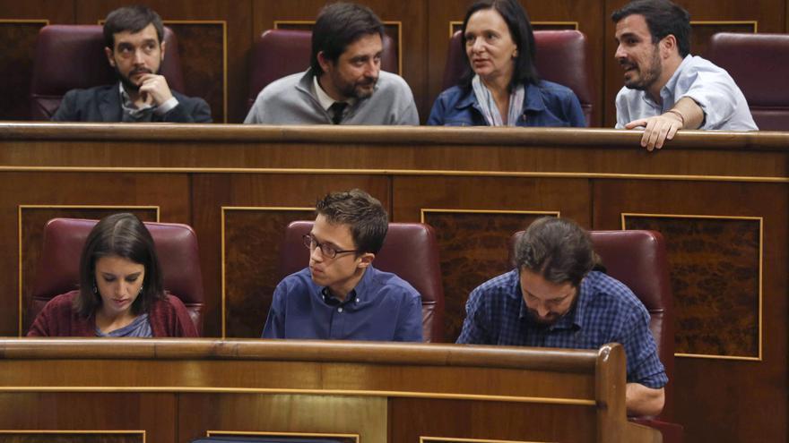 Pablo Iglesias, Íñigo Errejón e Irene Montero en el Congreso el pasado mes de septiembre.