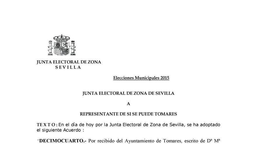 Acta de la Junta Electoral de Zona de Sevilla.