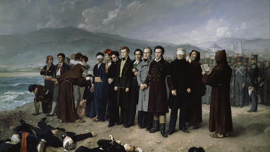 Fusilamiento de Torrijos y sus compañeros en las playas de Málaga, de Antonio Gisbert (1888, Museo del Prado)