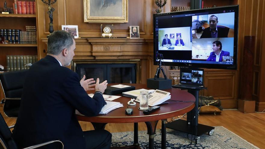 El Rey en videoconferencia con los sectores ganaderos