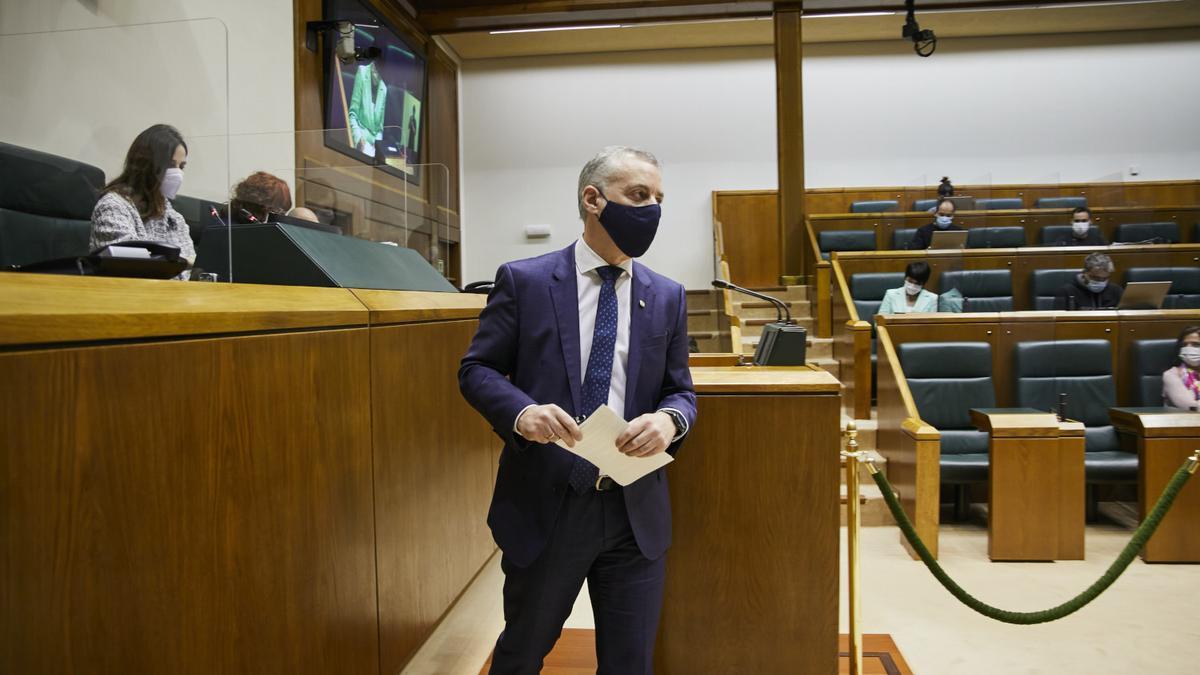 El lehendakari, Iñigo Urkullu, en el pleno de este viernes
