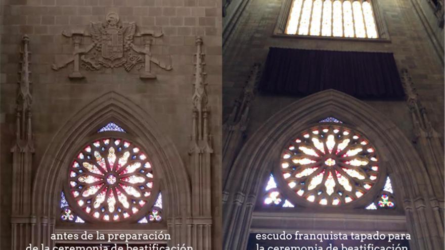 El escudo franquista, antes de la preparación de la ceremonia de beatificación de Pedro de Asúa y tapado para la misma./ Foto: M.A.