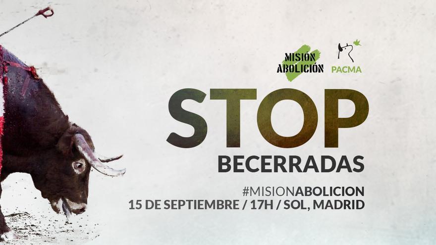 Cartel de la manifestación contra las becerradas convocada por PACMA.