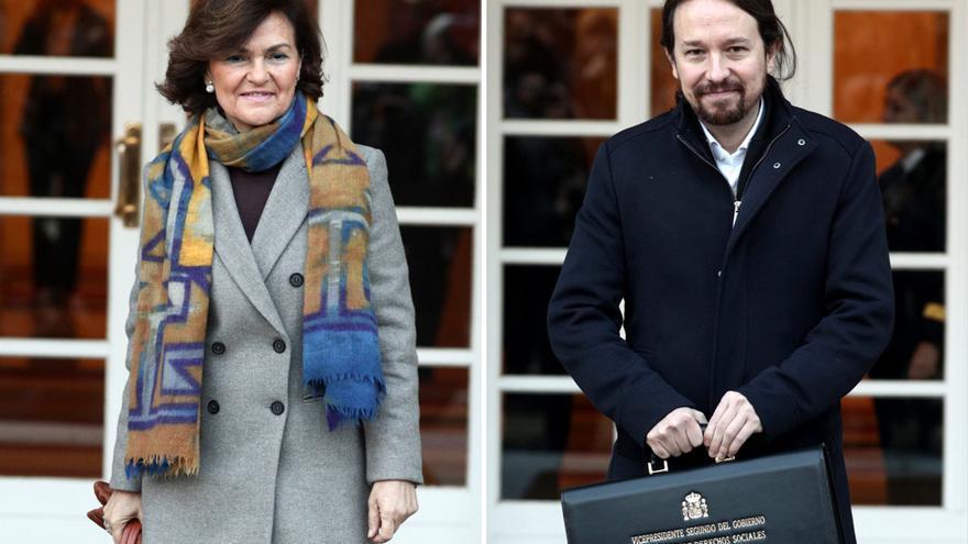 Carmen Calvo y Pablo Iglesias, vicepresidentes primera y segundo del Gobierno