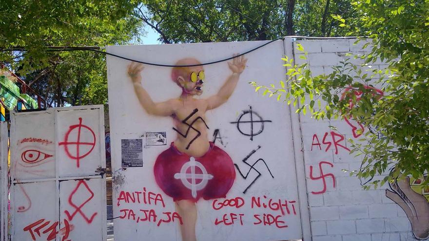 Una de las pintadas neonazis en la localidad madrileña de Alpedrete