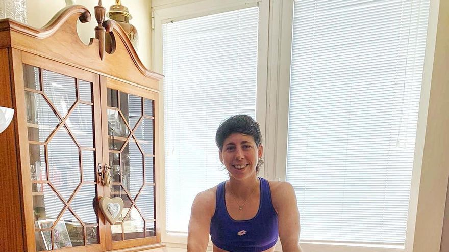 Carla Suárez también se entrena en casa.