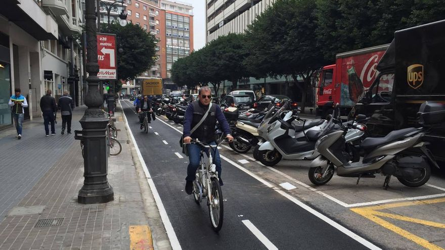 Varios usuarios por el anillo ciclista