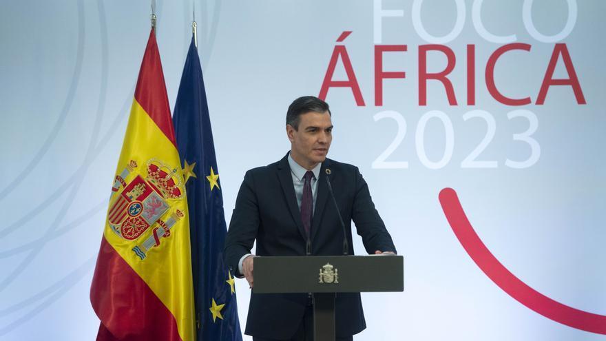 El presidente del Gobierno, Pedro Sánchez, interviene durante la presentación del plan estratégico Foco África 2023