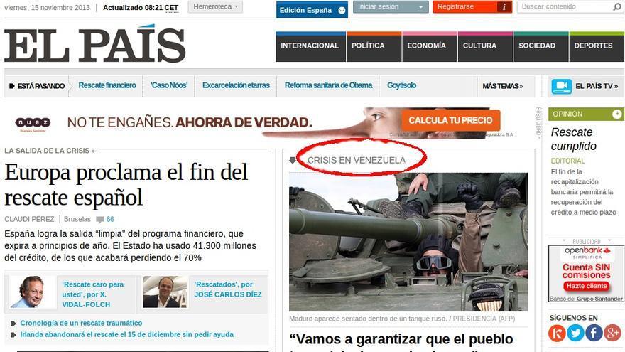 Información en la portada de elpais.com sobre Venezuela.