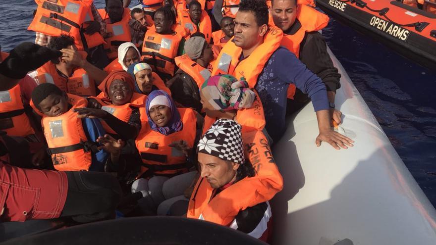 Imagen del rescate de la ONG Open Arms este sábado.