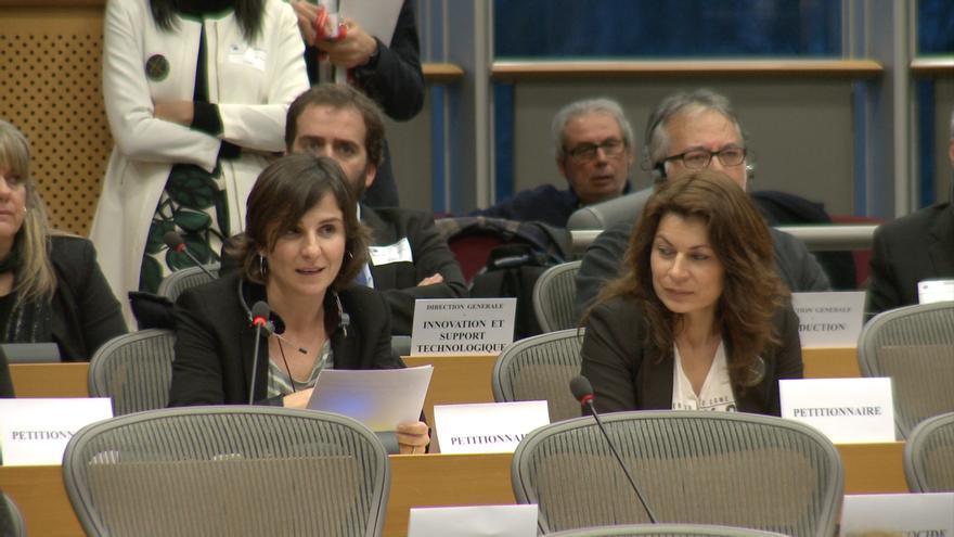 La presidenta de la AVM3J durante su comparecencia en la Comisión de Peticiones del Parlamento Europeo