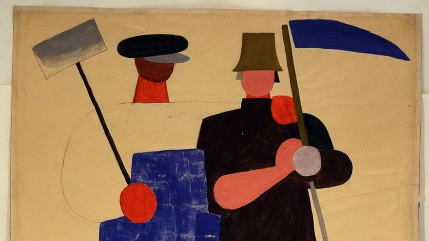 Foto de stock - The Alliance of the Workers and Farmers. Lebedev, Vladimir Vasilyevich (1891-1967). Gouache on paper. Russian avant-garde. 1921 . Russian State Library, Moscow. 101x68. Painting.