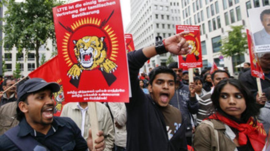 Protestas de los partidarios de los Tigres Tamiles en Sri Lanka