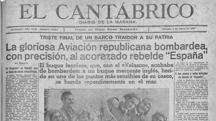 Portada de 'El Cantábrico' que recoge la crónica del hundimiento del buque 'España'.