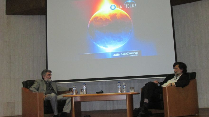 Diálogo, este viernes, entre Anelio Rodríguez y Víctor Erice. Foto: LUZ RODRÍGUEZ.