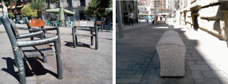 Bancos individuales en la Plaza de Juan Pujol y convexos ¿diseño o urbanismo defensivo?
