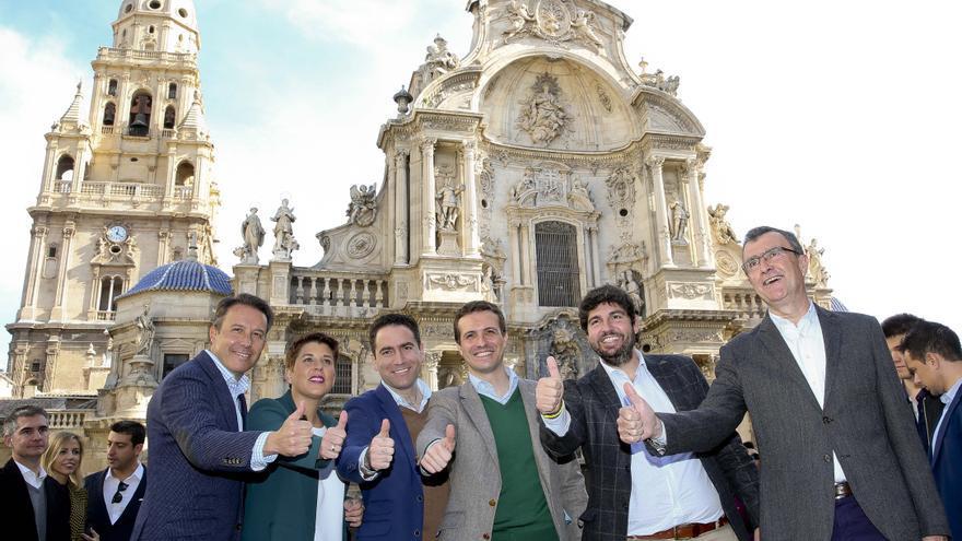 Casado, la semana pasada, en la presentación de los candidatos en Murcia.