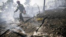 Tareas de extinción del incendio forestal de la sierra Calderona