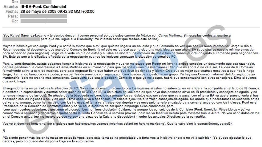Los correos de Blesa: IB-BA Pont Confidencial