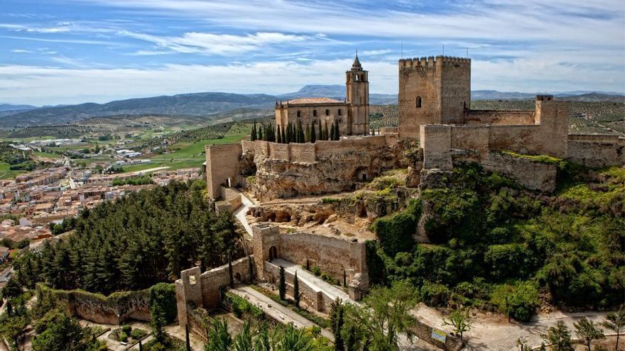 Vista aérea de la Fortaleza de la Mota en Alcalá la Real (Jaén)