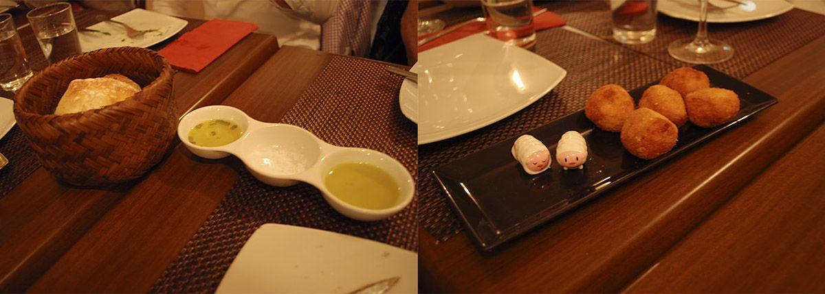 Díptico cesta de pan y Croquetas de boletus al aroma de trufa blanca_Malasaña a mordiscos