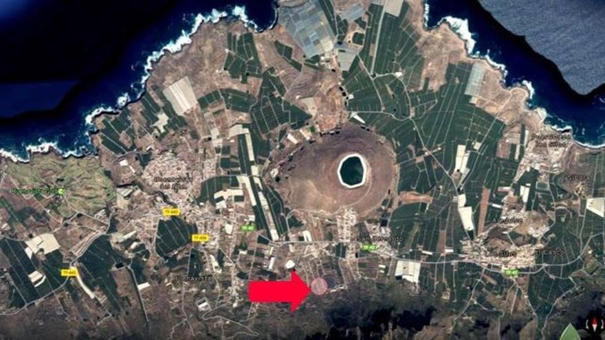Vista aérea de la Isla Baja, con la ubicación inicial de la EDAR por parte del Consejo Insular de Aguas