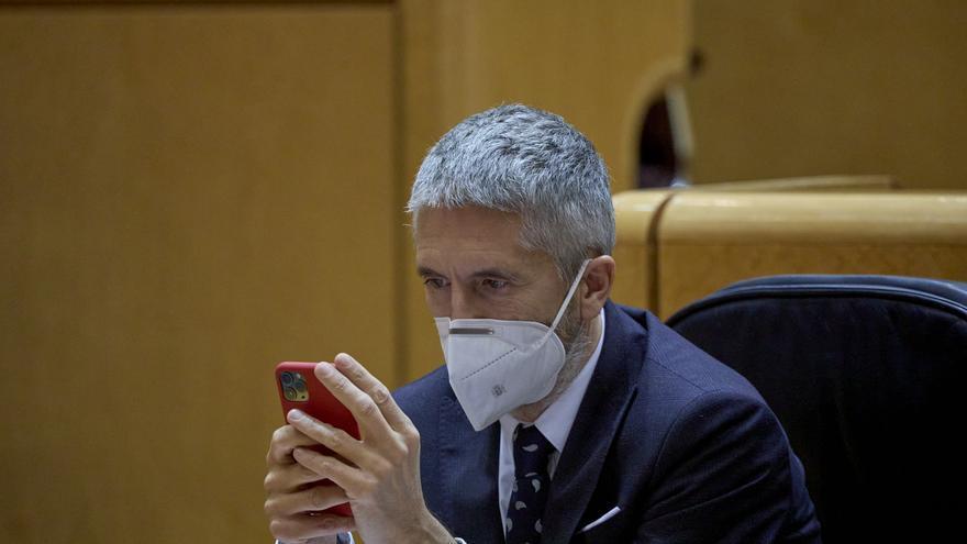 El ministro del Interior, Fernando Grande-Marlaska , durante la sesión de control al Gobierno en el Senado
